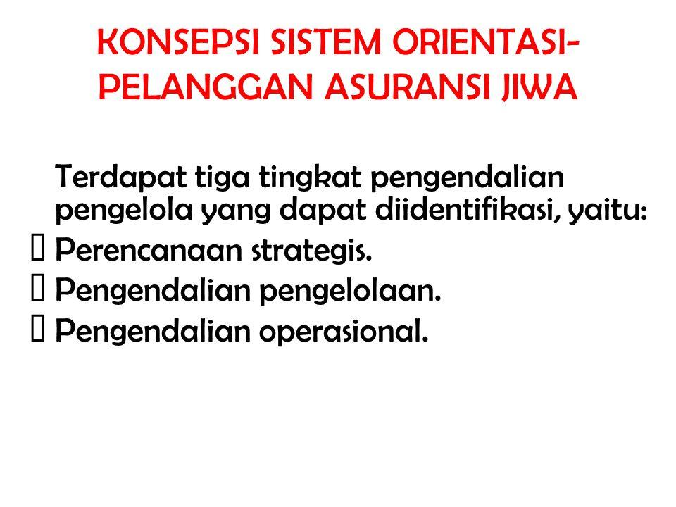 KONSEPSI SISTEM ORIENTASI- PELANGGAN ASURANSI JIWA Terdapat tiga tingkat pengendalian pengelola yang dapat diidentifikasi, yaitu: Perencanaan strategi