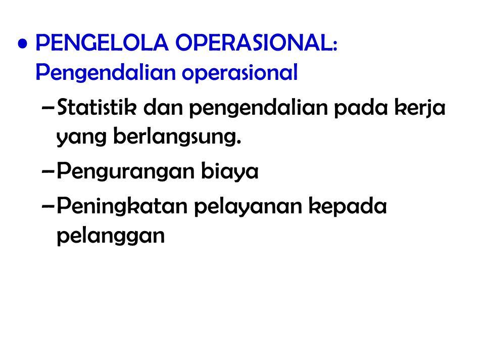 PENGELOLA OPERASIONAL: Pengendalian operasional –Statistik dan pengendalian pada kerja yang berlangsung. –Pengurangan biaya –Peningkatan pelayanan kep