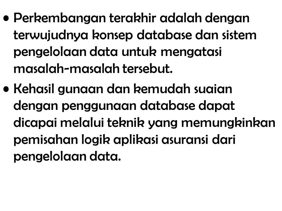 Perkembangan terakhir adalah dengan terwujudnya konsep database dan sistem pengelolaan data untuk mengatasi masalah-masalah tersebut. Kehasil gunaan d
