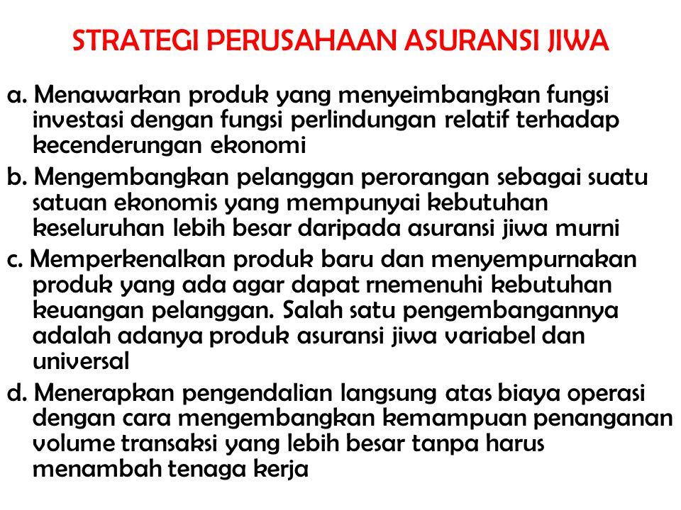 STRATEGI PERUSAHAAN ASURANSI JIWA a. Menawarkan produk yang menyeimbangkan fungsi investasi dengan fungsi perlindungan relatif terhadap kecenderungan
