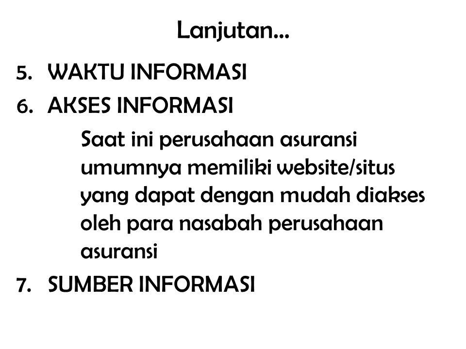 Lanjutan… 5.WAKTU INFORMASI 6.AKSES INFORMASI Saat ini perusahaan asuransi umumnya memiliki website/situs yang dapat dengan mudah diakses oleh para na