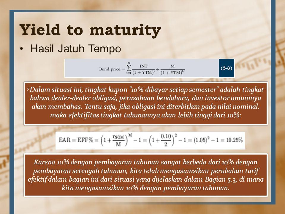 Yield to maturity Hasil Jatuh Tempo 7 Dalam situasi ini, tingkat kupon