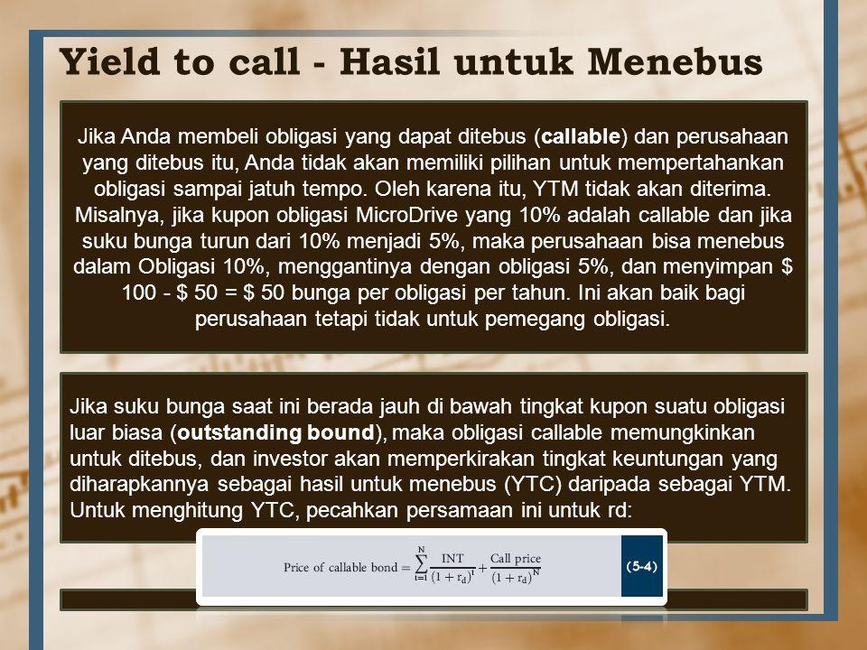 Yield to call - Hasil untuk Menebus Jika Anda membeli obligasi yang dapat ditebus (callable) dan perusahaan yang ditebus itu, Anda tidak akan memiliki