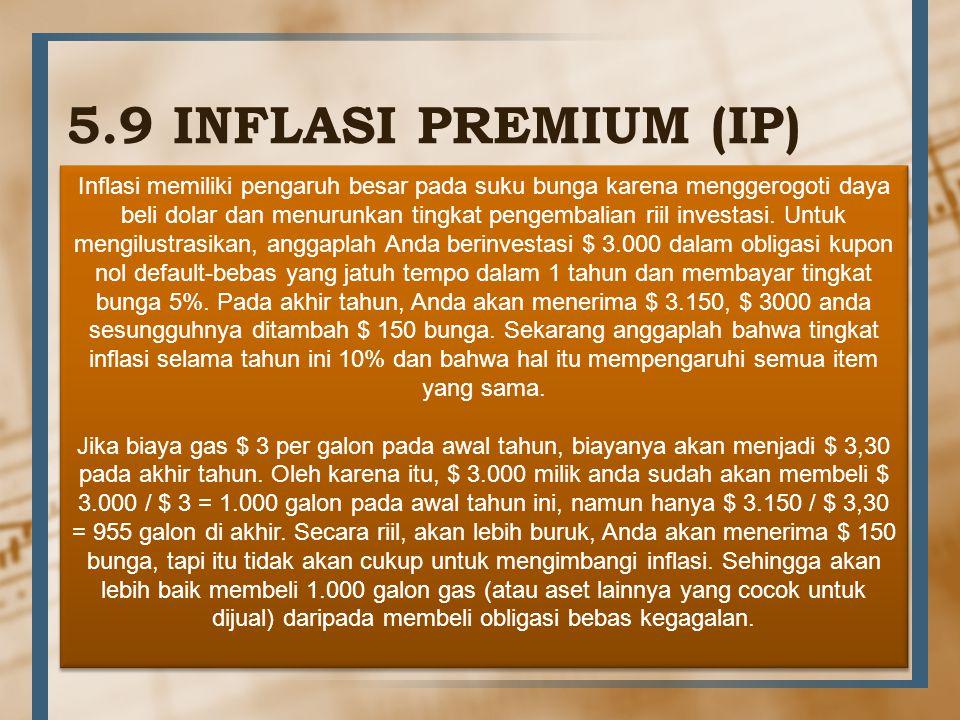 5.9 INFLASI PREMIUM (IP) Inflasi memiliki pengaruh besar pada suku bunga karena menggerogoti daya beli dolar dan menurunkan tingkat pengembalian riil