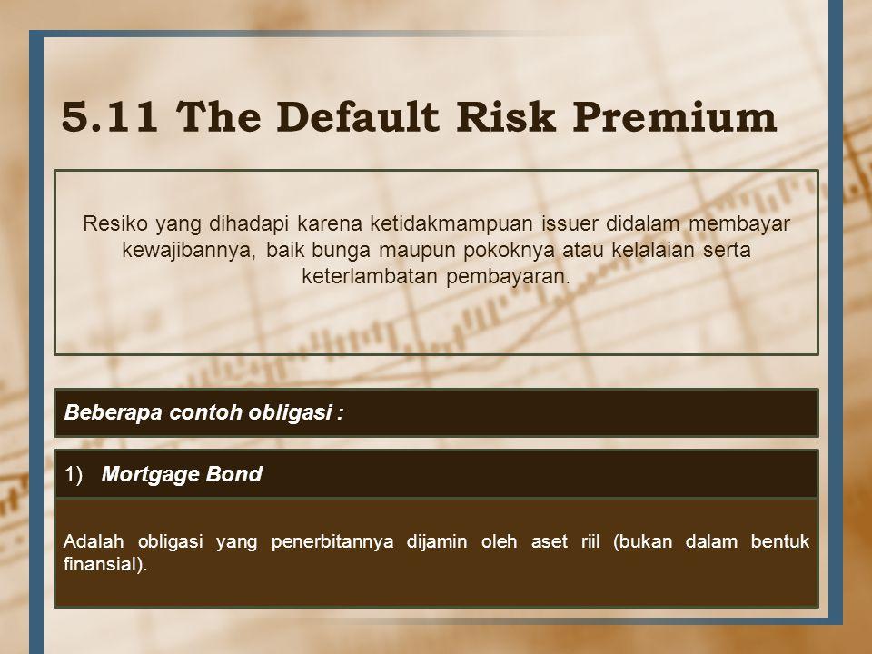 5.11 The Default Risk Premium Resiko yang dihadapi karena ketidakmampuan issuer didalam membayar kewajibannya, baik bunga maupun pokoknya atau kelalai