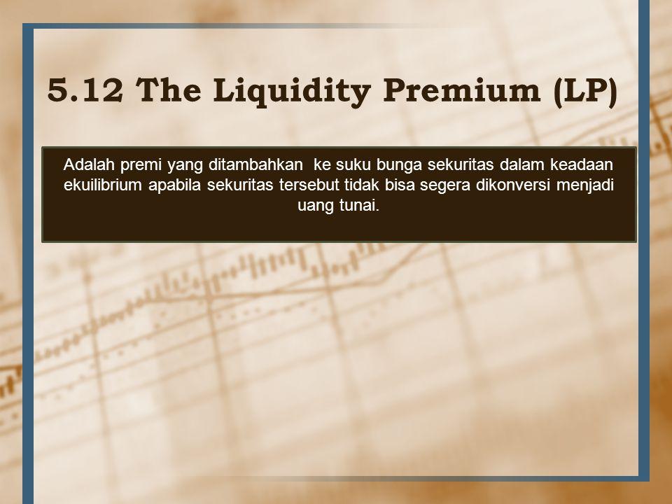 5.12 The Liquidity Premium (LP) Adalah premi yang ditambahkan ke suku bunga sekuritas dalam keadaan ekuilibrium apabila sekuritas tersebut tidak bisa
