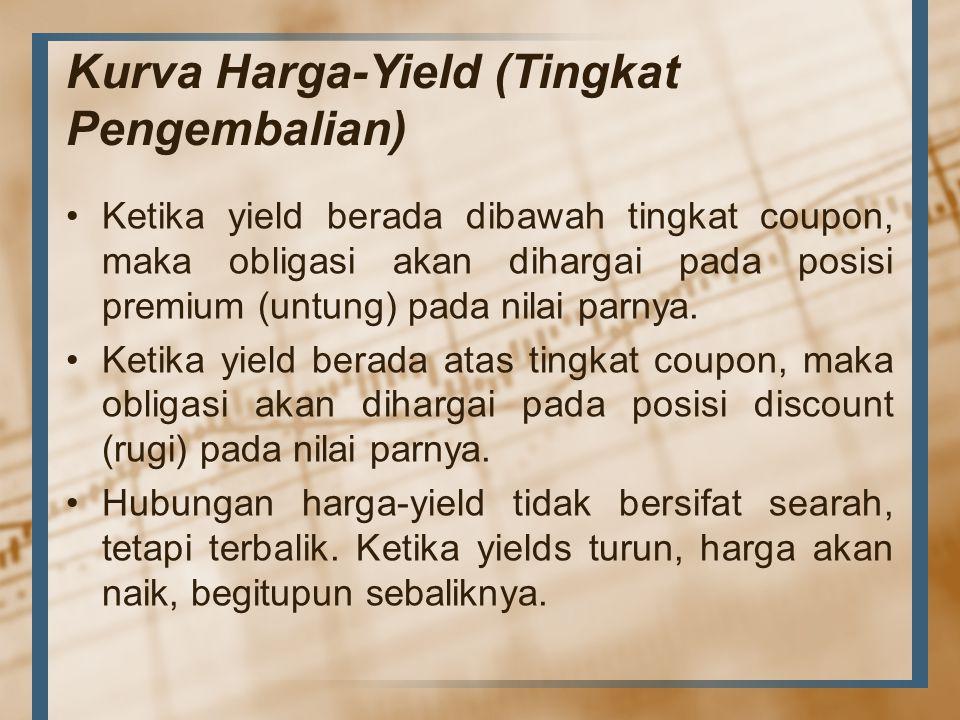 Kurva Harga-Yield (Tingkat Pengembalian) Ketika yield berada dibawah tingkat coupon, maka obligasi akan dihargai pada posisi premium (untung) pada nil