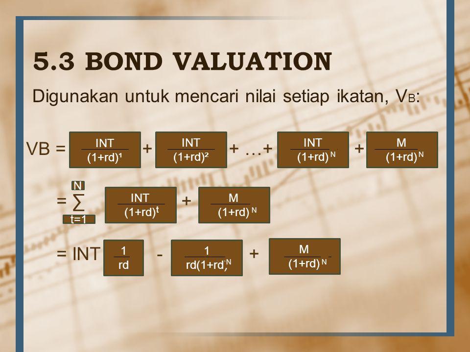 5.3 BOND VALUATION Digunakan untuk mencari nilai setiap ikatan, V B : VB = + + …+ + = ∑ + = INT - + INT (1+rd)¹ INT (1+rd)² INT (1+rd) N M (1+rd) N N