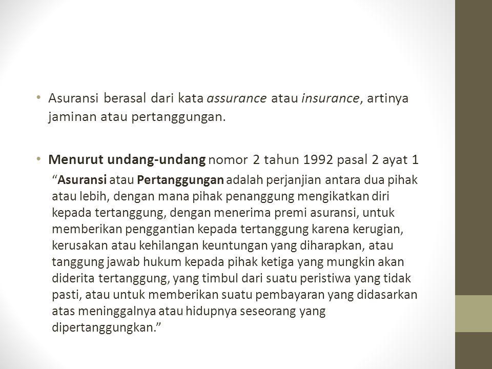 "Asuransi berasal dari kata assurance atau insurance, artinya jaminan atau pertanggungan. Menurut undang-undang nomor 2 tahun 1992 pasal 2 ayat 1 ""Asur"