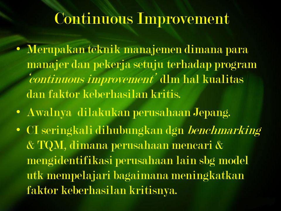 Continuous Improvement Merupakan teknik manajemen dimana para manajer dan pekerja setuju terhadap program 'continuous improvement' dlm hal kualitas dan faktor keberhasilan kritis.