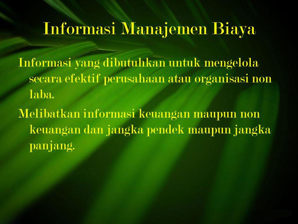 Informasi Manajemen Biaya Informasi yang dibutuhkan untuk mengelola secara efektif perusahaan atau organisasi non laba.