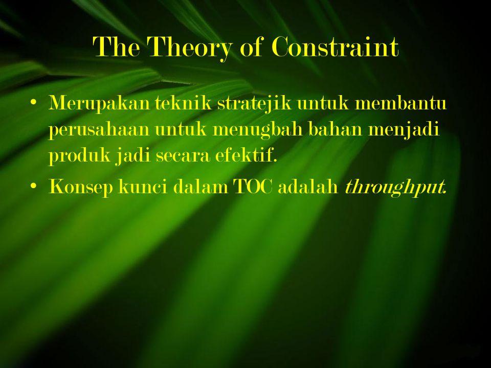 The Theory of Constraint Merupakan teknik stratejik untuk membantu perusahaan untuk menugbah bahan menjadi produk jadi secara efektif.