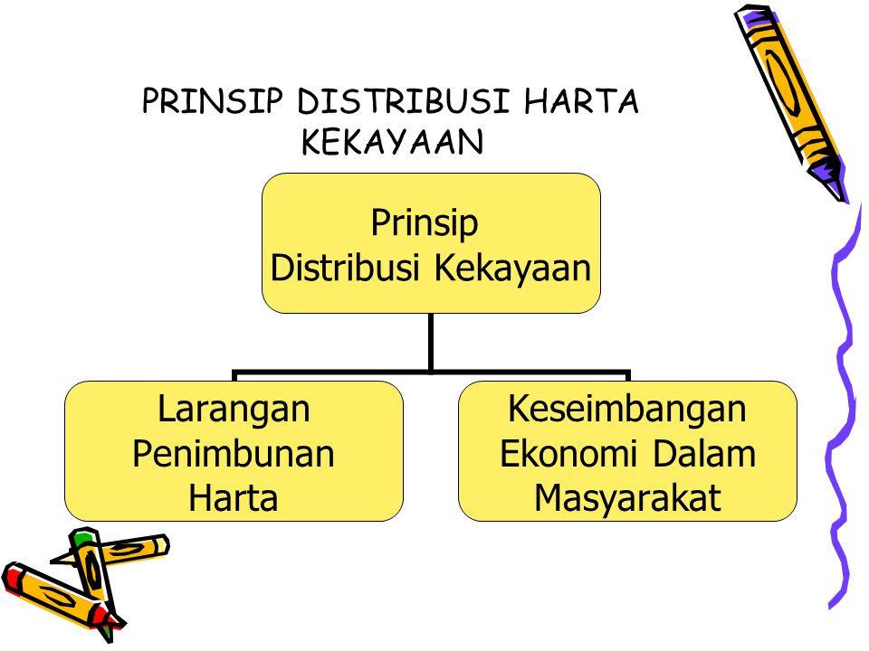 PRINSIP DISTRIBUSI HARTA KEKAYAAN Prinsip Distribusi Kekayaan Larangan Penimbunan Harta Keseimbangan Ekonomi Dalam Masyarakat