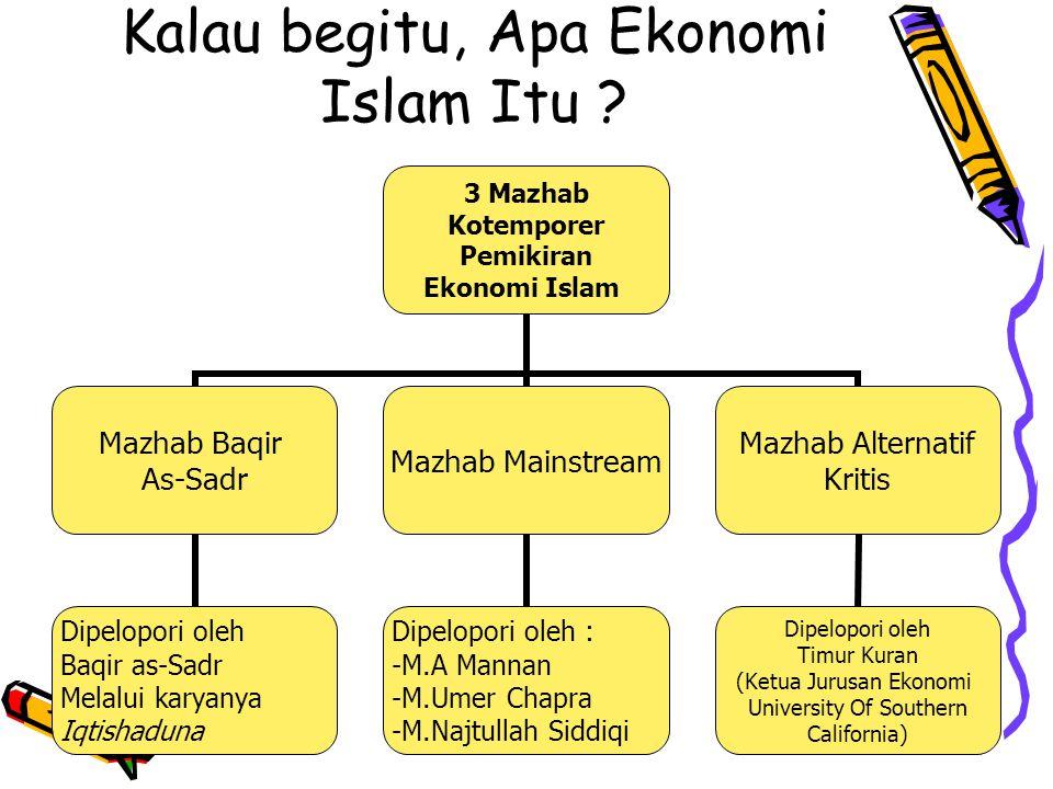 Pokok Pikiran Mazhab Baqir As-Sadr Antara ilmu ekonomi Dan Islam tidak Bisa sejalan Menolak Paradigma SDA terbatas, Kebutuhan Manusia Tak terbatas Permasalahan Ekonomi Muncul Karena ketidakadilan Dalam Distribusi Sosialisasi Konversi Term Ekonomi Islam Dengan Term Iqtishad Menolak seluruh Gagasan Teori Ekonomi Konvensional Yang selanjutnya Diganti dengan Teori Ekonomi Yang di gali dari Al-Qur'an dan Hadis