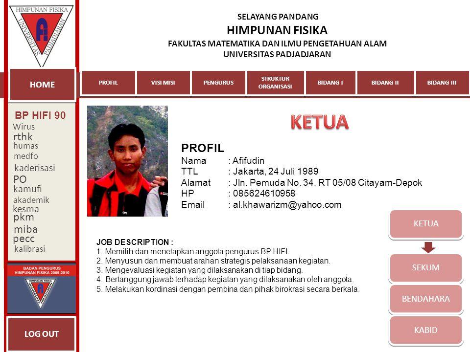 PROFIL Nama: Afifudin TTL: Jakarta, 24 Juli 1989 Alamat: Jln. Pemuda No. 34, RT 05/08 Citayam-Depok HP: 085624610958 Email: al.khawarizm@yahoo.com SEL