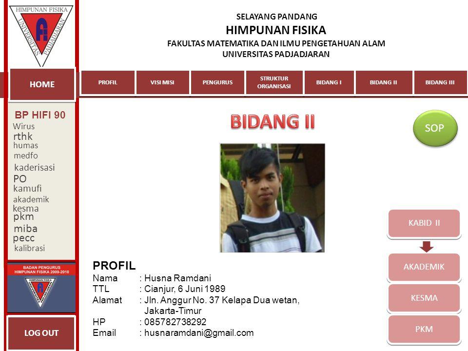 KABID III MIBA PECC KALIBRASI PROFIL Nama: Lulu Nurani TTL: Bandung, 15 Agustus 1989 Alamat: Komp.