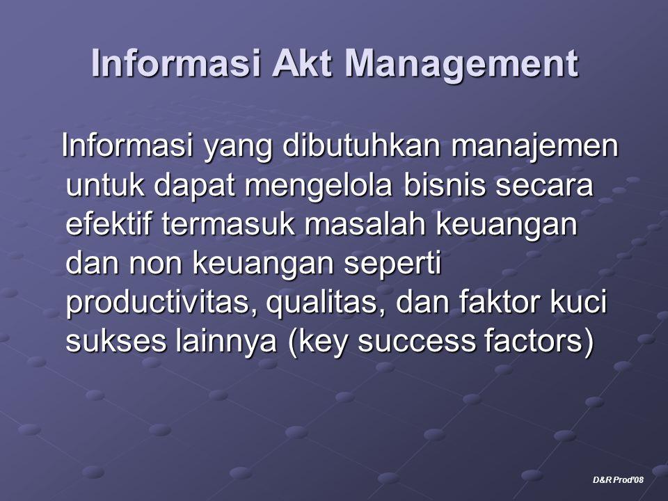 Informasi Akt Management Informasi yang dibutuhkan manajemen untuk dapat mengelola bisnis secara efektif termasuk masalah keuangan dan non keuangan se