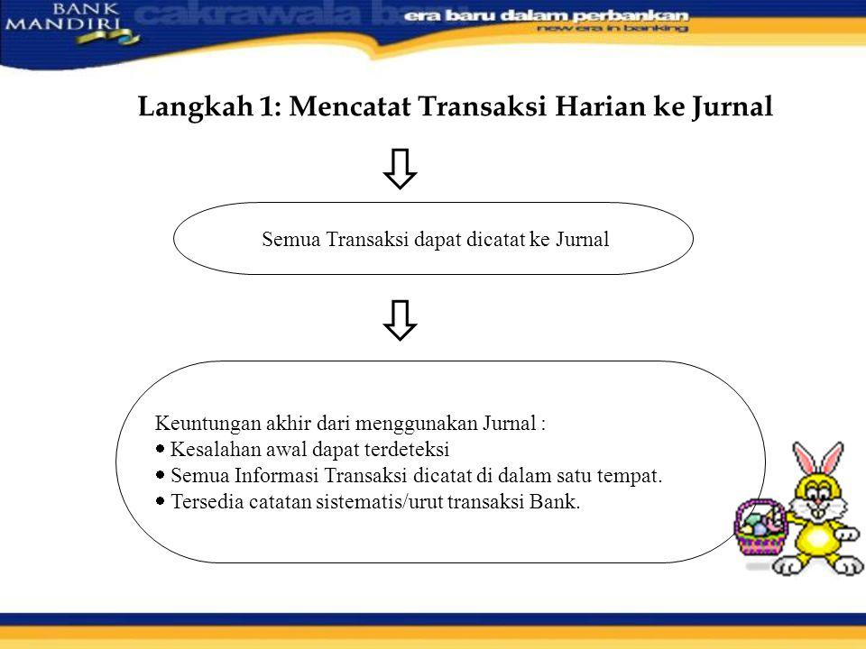 Langkah 1: Mencatat Transaksi Harian ke Jurnal  Semua Transaksi dapat dicatat ke Jurnal  Keuntungan akhir dari menggunakan Jurnal :  Kesalahan awal dapat terdeteksi  Semua Informasi Transaksi dicatat di dalam satu tempat.