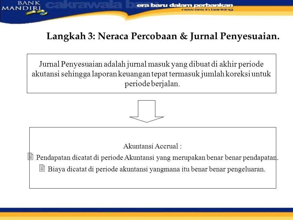 Langkah 3: Neraca Percobaan & Jurnal Penyesuaian. Jurnal Penyesuaian adalah jurnal masuk yang dibuat di akhir periode akutansi sehingga laporan keuang