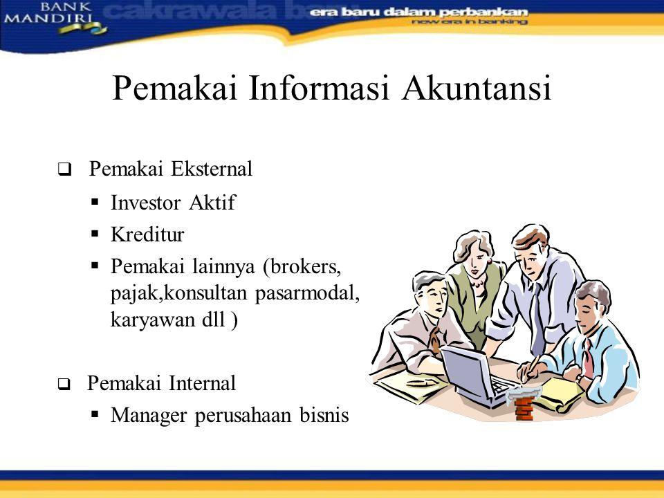 Pemakai Informasi Akuntansi  Pemakai Eksternal  Investor Aktif  Kreditur  Pemakai lainnya (brokers, pajak,konsultan pasarmodal, karyawan dll )  P