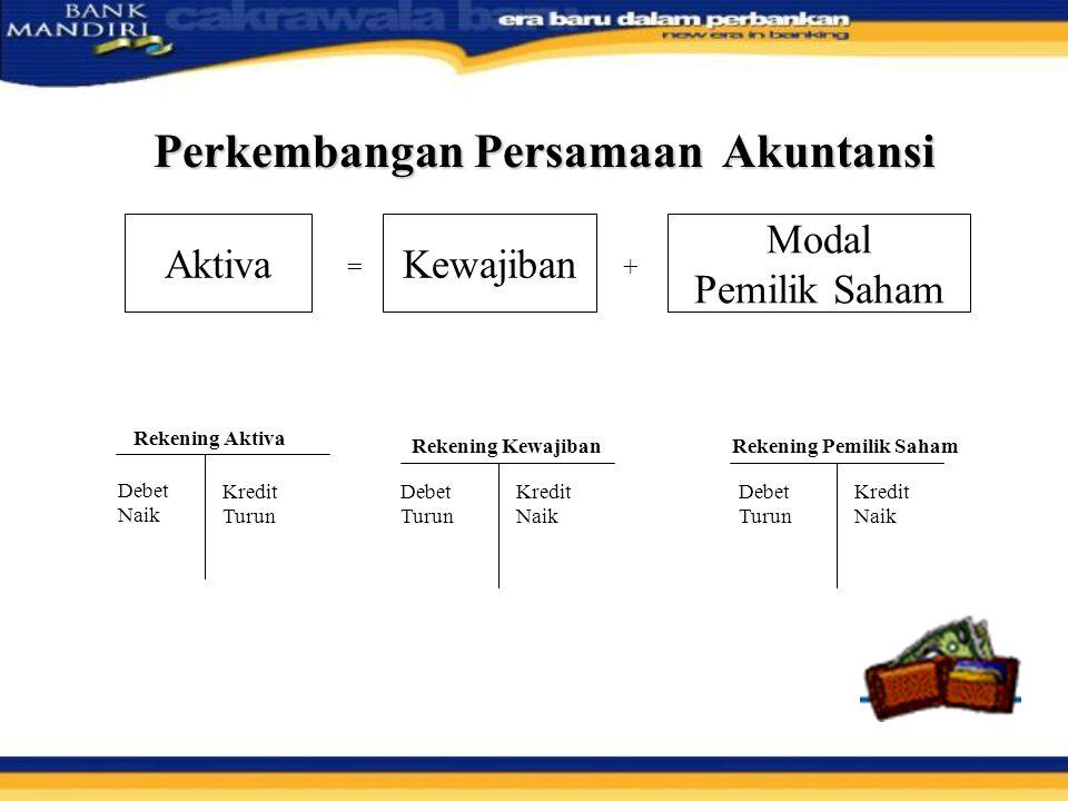 Perkembangan Persamaan Akuntansi Semua Rekg.Aktiva = Semua Rekg.
