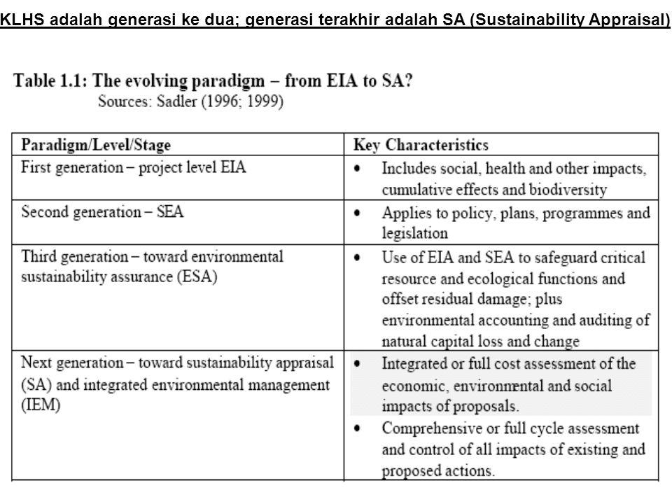 KLHS adalah generasi ke dua; generasi terakhir adalah SA (Sustainability Appraisal)