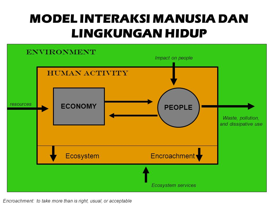 Tekanan terhadap Ekosistem Economic subsystem Population subsystem Goods & services labor Human subsystem Environmental compartment Ecosystem impacts Environmental subsystem STATEPRESSURE Resource Depletion Pollution Natural Feedbacks Societal Response Human System Feedback RESPONSE
