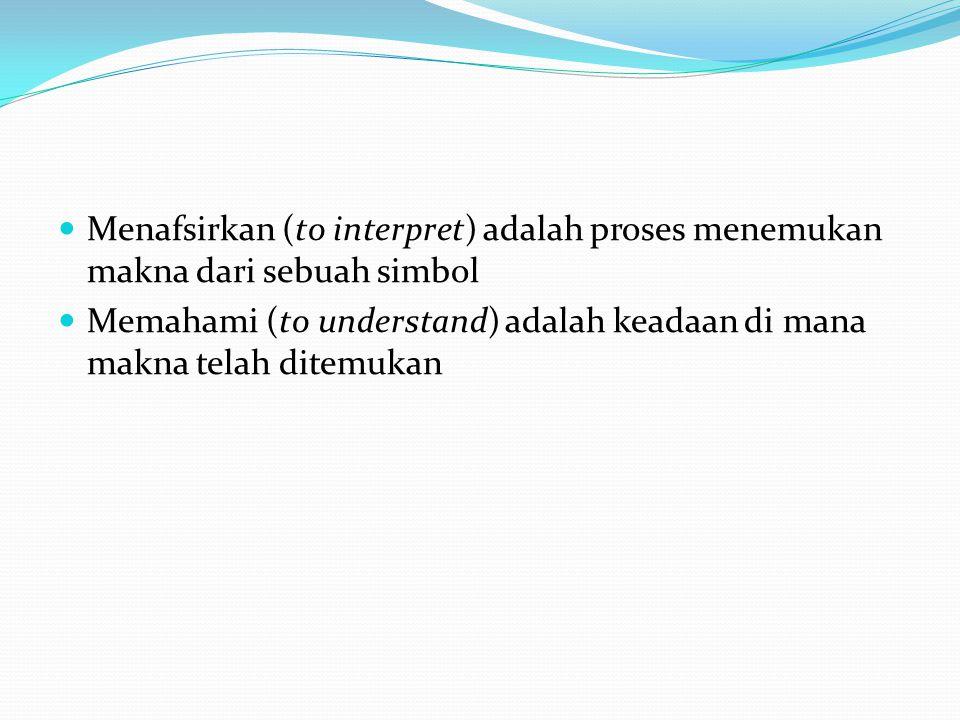 Menafsirkan (to interpret) adalah proses menemukan makna dari sebuah simbol Memahami (to understand) adalah keadaan di mana makna telah ditemukan