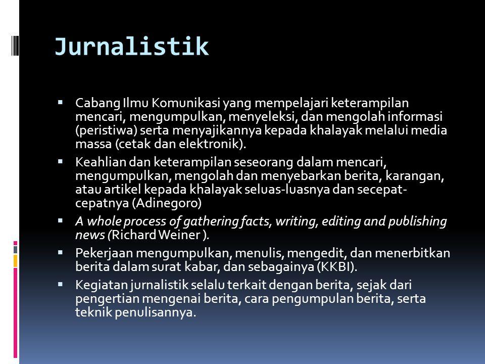 Jurnalistik  Cabang Ilmu Komunikasi yang mempelajari keterampilan mencari, mengumpulkan, menyeleksi, dan mengolah informasi (peristiwa) serta menyaji