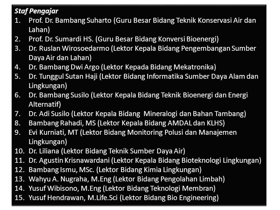 dz.farahadiba@ymail.com / Farah Adibakadabra / @adibakadabra Staf Pengajar 1.Prof. Dr. Bambang Suharto (Guru Besar Bidang Teknik Konservasi Air dan La