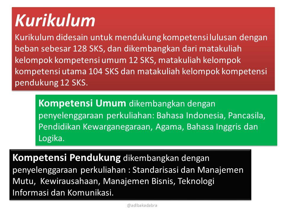 @adibakadabra Kurikulum Kurikulum didesain untuk mendukung kompetensi lulusan dengan beban sebesar 128 SKS, dan dikembangkan dari matakuliah kelompok