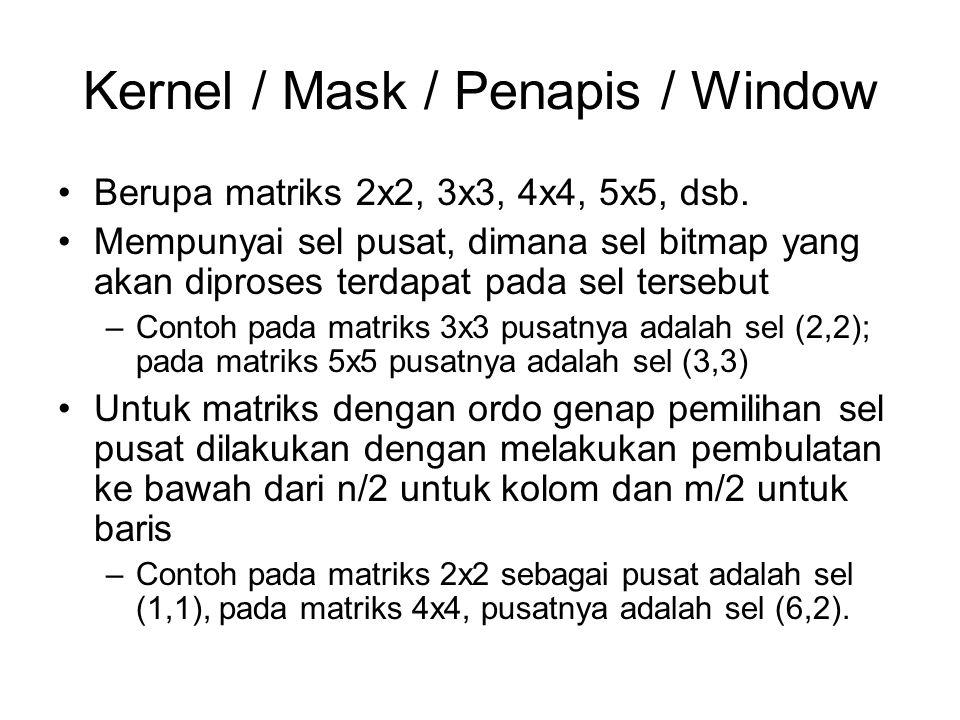 Kernel / Mask / Penapis / Window Berupa matriks 2x2, 3x3, 4x4, 5x5, dsb. Mempunyai sel pusat, dimana sel bitmap yang akan diproses terdapat pada sel t