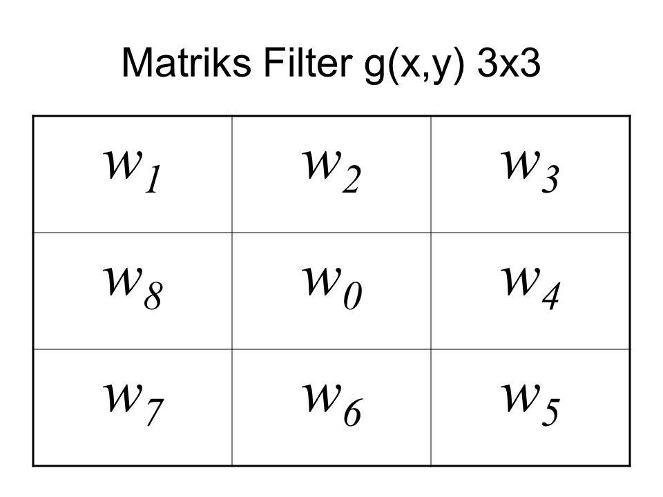Matriks Filter g(x,y) 3x3 w1w1 w2w2 w3w3 w8w8 w0w0 w4w4 w7w7 w6w6 w5w5