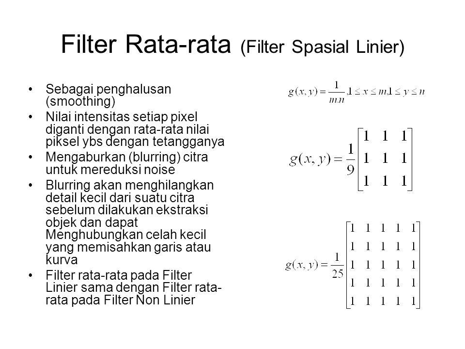 Filter Rata-rata (Filter Spasial Linier) Sebagai penghalusan (smoothing) Nilai intensitas setiap pixel diganti dengan rata-rata nilai piksel ybs denga