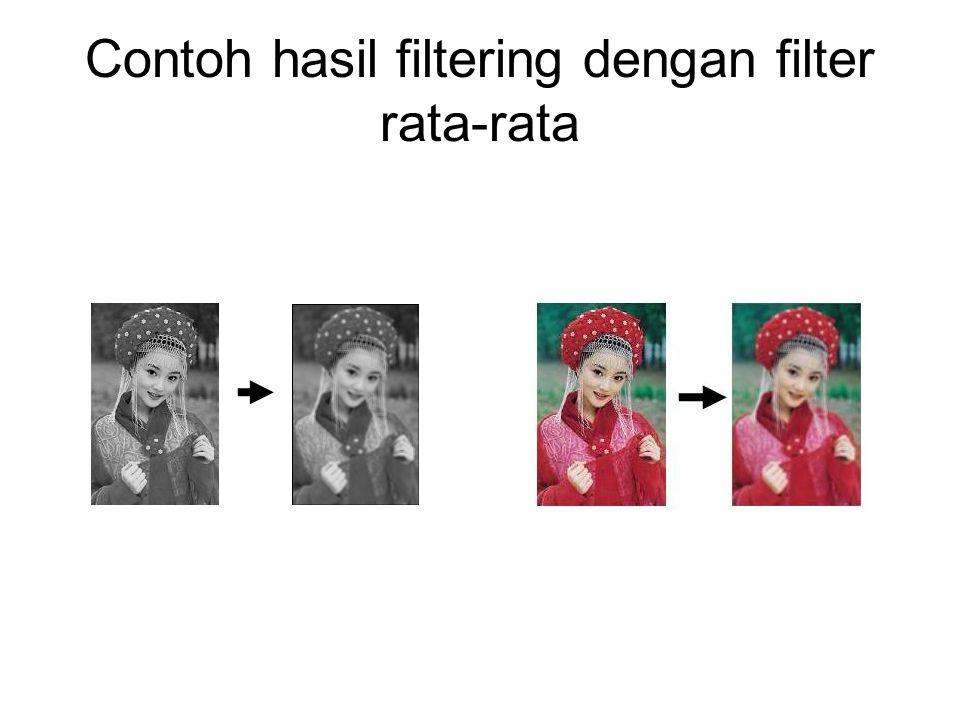 Contoh hasil filtering dengan filter rata-rata