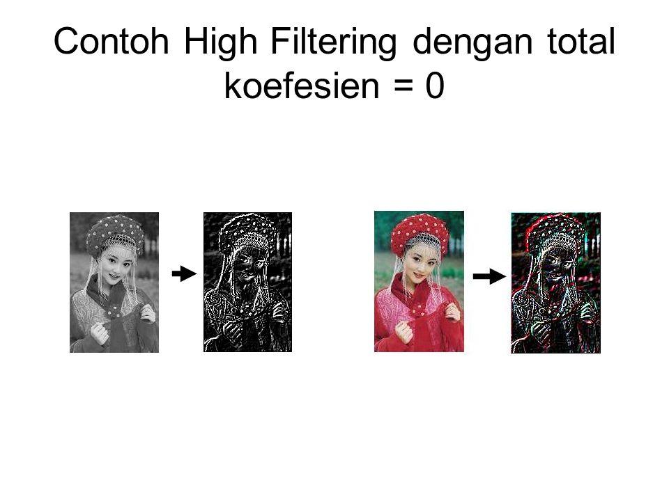 Contoh High Filtering dengan total koefesien = 0
