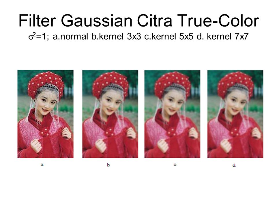 Filter Gaussian Citra True-Color  2 =1; a.normal b.kernel 3x3 c.kernel 5x5 d. kernel 7x7