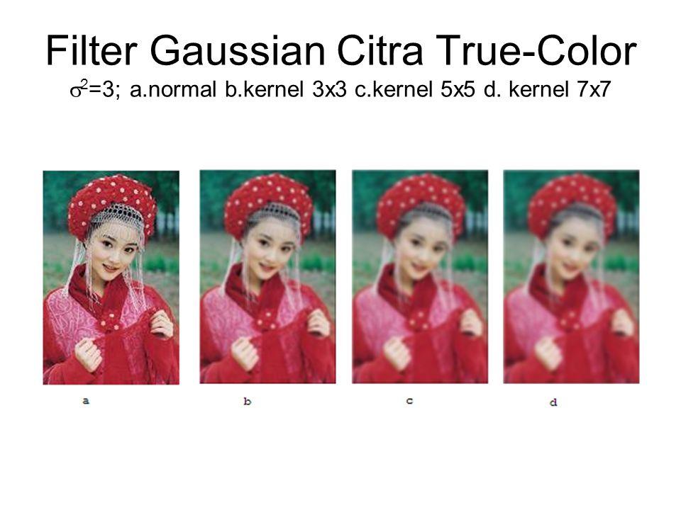 Filter Gaussian Citra True-Color  2 =3; a.normal b.kernel 3x3 c.kernel 5x5 d. kernel 7x7