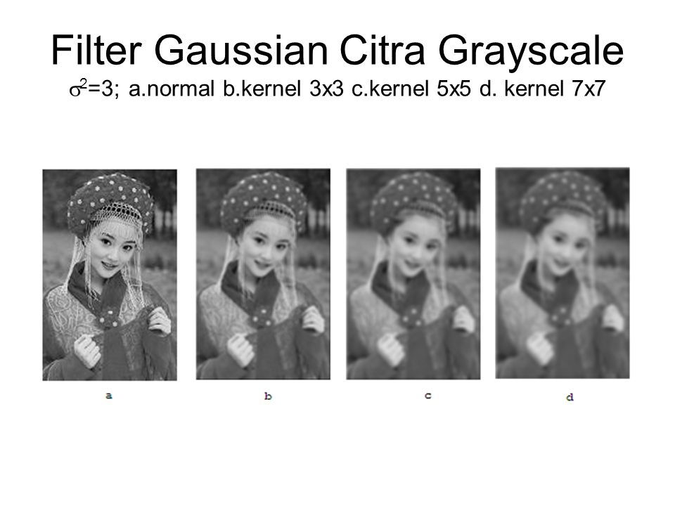 Filter Gaussian Citra Grayscale  2 =3; a.normal b.kernel 3x3 c.kernel 5x5 d. kernel 7x7