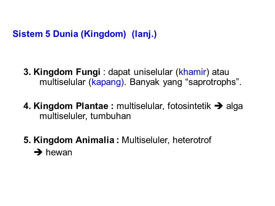 """Sistem 5 Dunia (Kingdom) (lanj.) 3. Kingdom Fungi : dapat uniselular (khamir) atau multiselular (kapang). Banyak yang """"saprotrophs"""". 4. Kingdom Planta"""