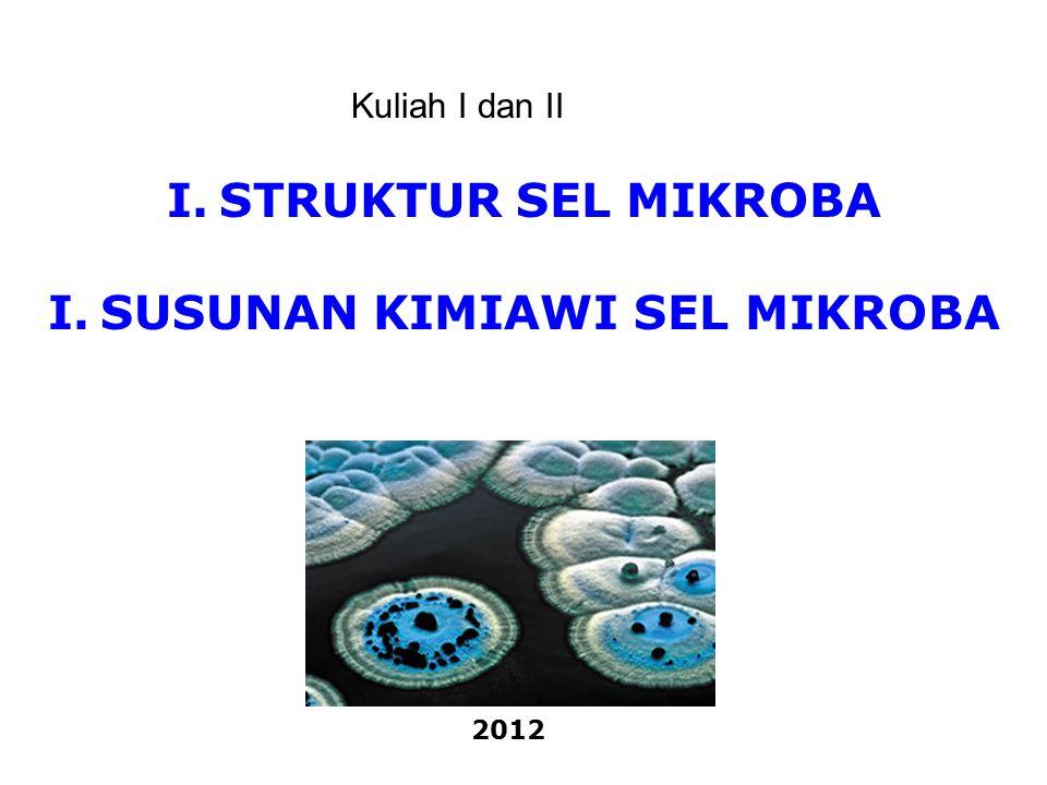 Teori Sel : semua makhluk hidup terdiri dari sel-sel Sel : satuan kehidupan terkecil yang menyusun tubuh makhluk hidup  tempat terselenggaranya fungsi kehidupan Jenis Sel : berdasarkan organisasi struktur selnya (organisasi bahan selulernya) - Prokariot (tanpa membran inti sel ) - Eukariot (mempunyai membran inti sel) I.STRUKTUR SEL MIKROBA