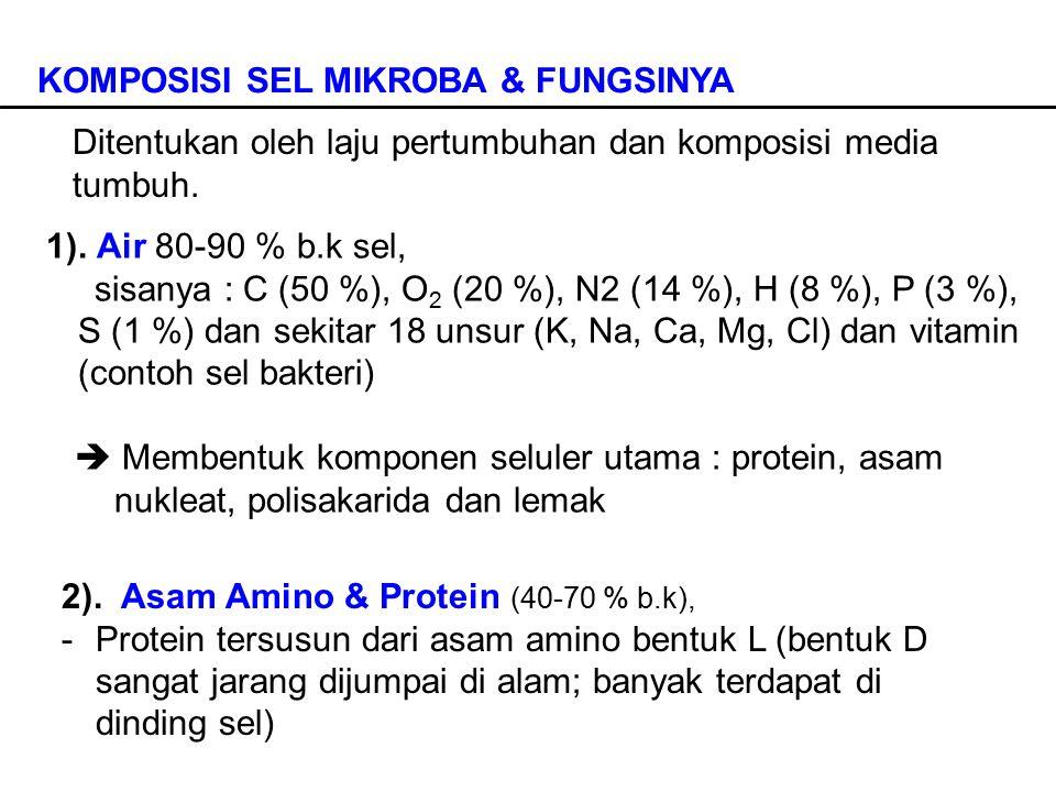KOMPOSISI SEL MIKROBA & FUNGSINYA 1). Air 80-90 % b.k sel, sisanya : C (50 %), O 2 (20 %), N2 (14 %), H (8 %), P (3 %), S (1 %) dan sekitar 18 unsur (