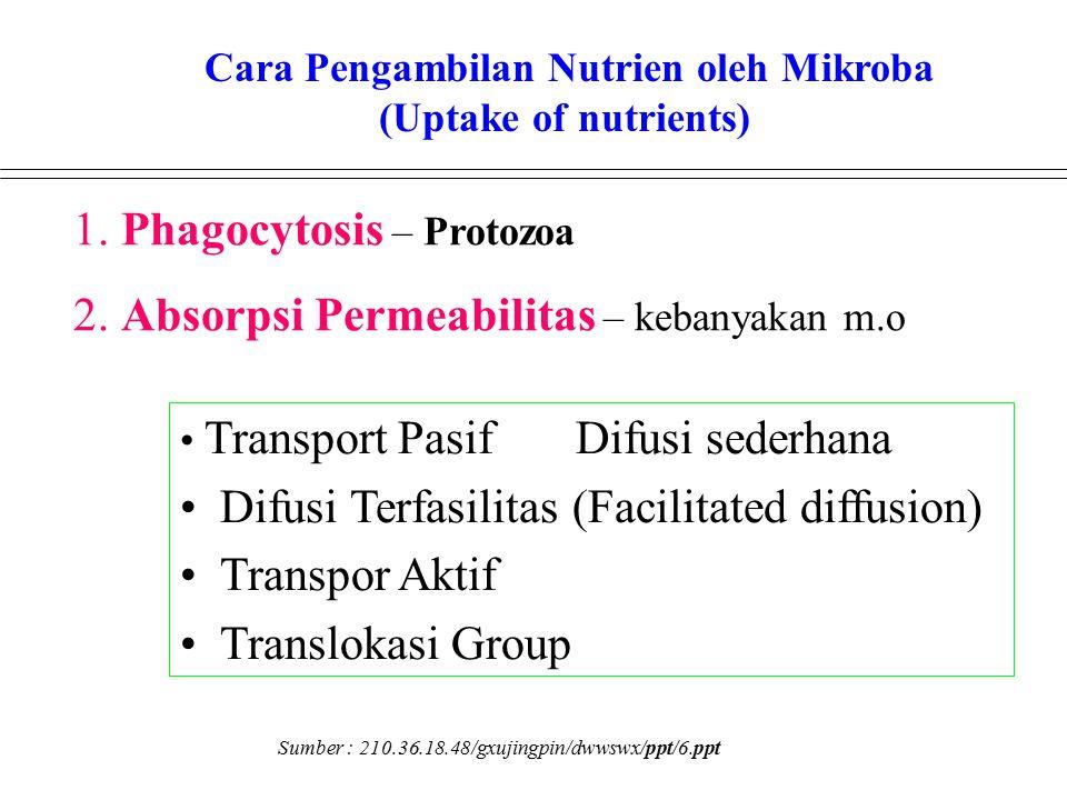 1. Phagocytosis – Protozoa 2. Absorpsi Permeabilitas – kebanyakan m.o Transport Pasif Difusi sederhana Difusi Terfasilitas (Facilitated diffusion) Tra