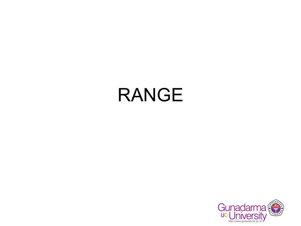 Fungsi Bantu Statistik 1.Max (Range) : mencari nilai terbesar dari suatu range.