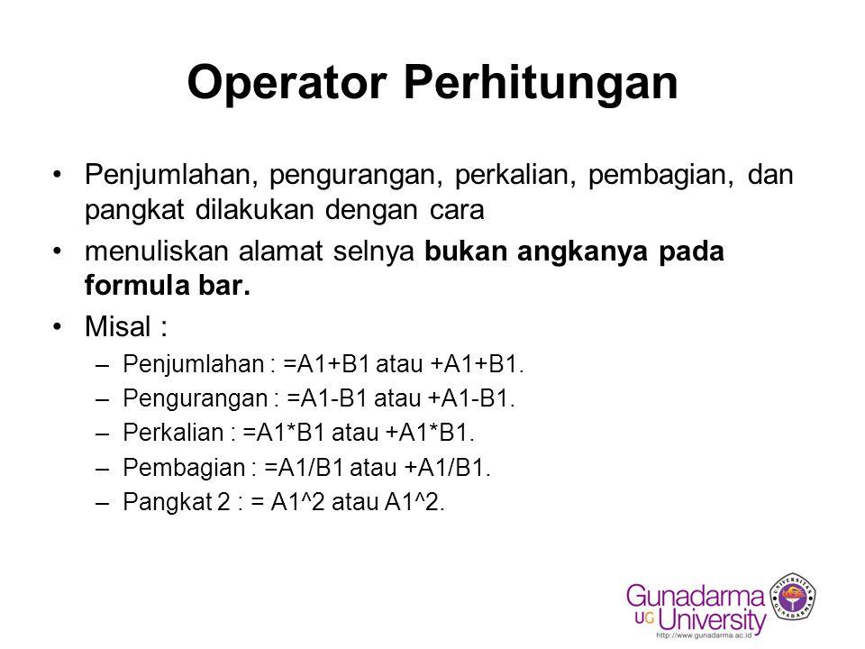 Operator Perhitungan Penjumlahan, pengurangan, perkalian, pembagian, dan pangkat dilakukan dengan cara menuliskan alamat selnya bukan angkanya pada fo