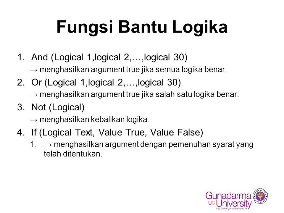 Fungsi Bantu Logika 1.And (Logical 1,logical 2,…,logical 30) → menghasilkan argument true jika semua logika benar. 2.Or (Logical 1,logical 2,…,logical