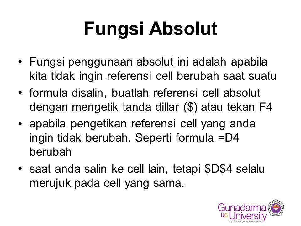 Fungsi Absolut Fungsi penggunaan absolut ini adalah apabila kita tidak ingin referensi cell berubah saat suatu formula disalin, buatlah referensi cell