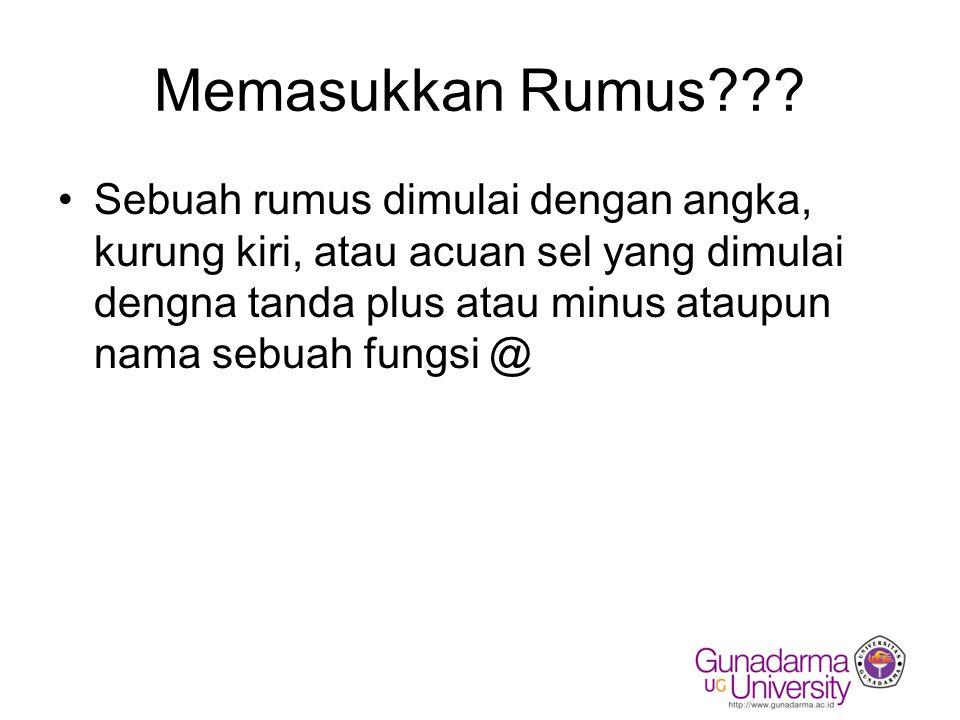 Memasukkan Rumus??? Sebuah rumus dimulai dengan angka, kurung kiri, atau acuan sel yang dimulai dengna tanda plus atau minus ataupun nama sebuah fungs