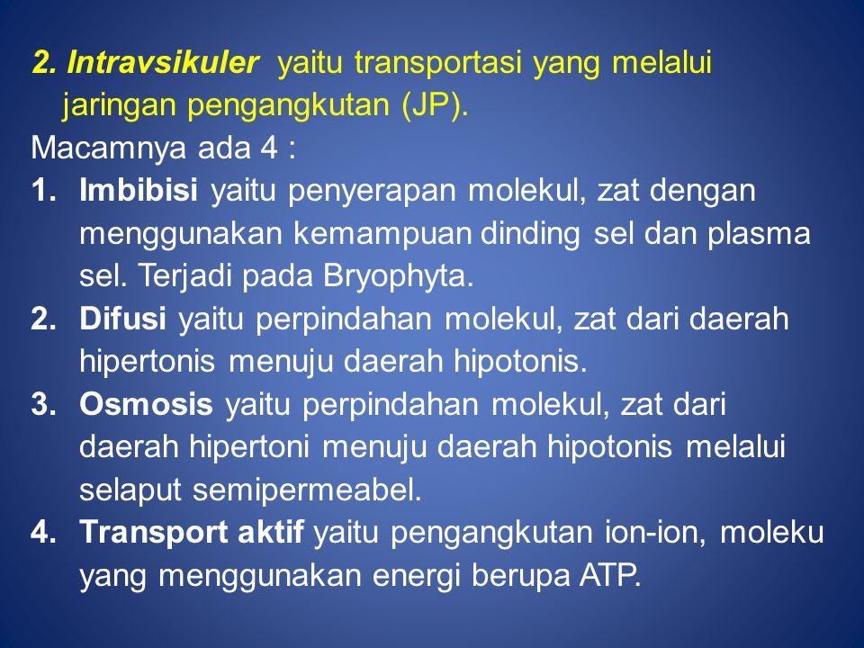 2. Intravsikuler yaitu transportasi yang melalui jaringan pengangkutan (JP). Macamnya ada 4 : 1.Imbibisi yaitu penyerapan molekul, zat dengan mengguna
