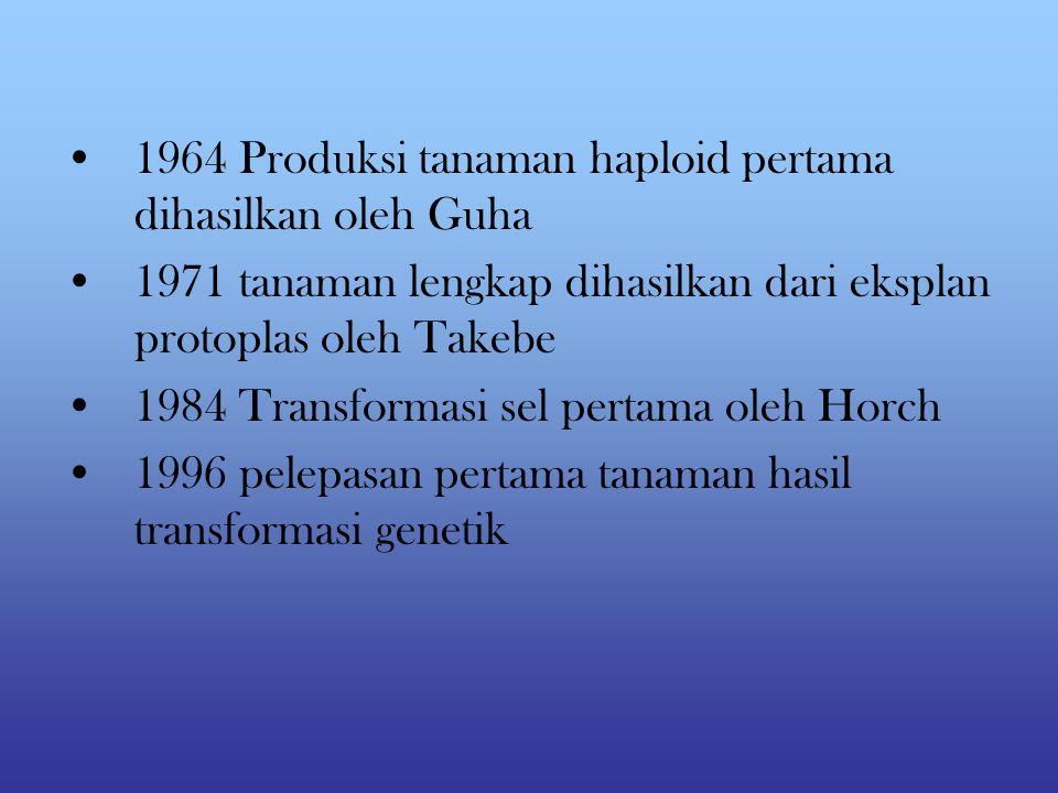 1964 Produksi tanaman haploid pertama dihasilkan oleh Guha 1971 tanaman lengkap dihasilkan dari eksplan protoplas oleh Takebe 1984 Transformasi sel pertama oleh Horch 1996 pelepasan pertama tanaman hasil transformasi genetik